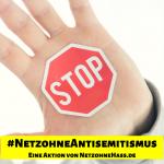Hand mit Antisemintismus Stoppschild